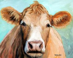 Guernsey Cream Cow On Light Green Painting by Dottie Dracos