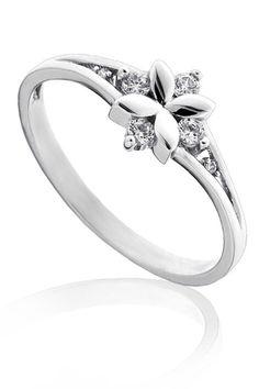 Zásnubní prsten bílé zlato pretis A1