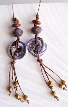 On earring kick lately. Here's the latest pair. Polymer clay disc, Czech glass beads and fringe accent with copper earwires.  www.lindysdesigns.com