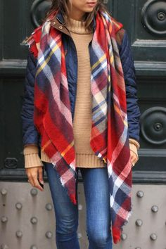 Wear It For Less: comfy and cozy.  Plaid blanket scarf with navy puffer coat and a camel sweater...perfection!
