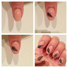 Nude feather nails