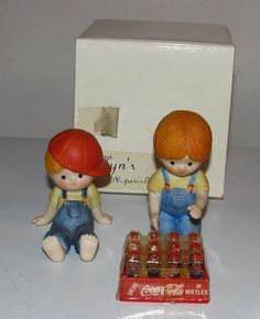 Vintage Enesco Country Cousins 1983 Katie & 1981 Scooter Mini Case Coke Figurine--I don't have this Scooter, but I have the Coke Katie.