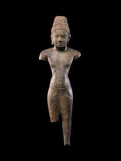 Sculptures of Shiva in human form began to appear in Khmer art in the seventh century, probably in response to the rising popularity of the Vaishnava cult that celebrated Vishnu as a king-like divinity, accessible and benign. Khmer 7th-8th c.