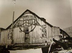 Big House of George Hunt (Tlingit/English) and Lucy Homiskanis-Hunt (Kwakiutl) and their family at Fort Rupert, British Columbia - Kwakiutl - 1885