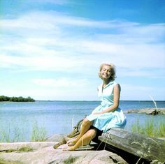 """Malin i """"Vi på Saltkråkan"""".: I love this woman! A summer day, a pretty woman, and the great outdoors. Note by Roger Carrier (Malin is a Swedish actress my age)."""