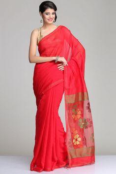 Red Matka Silk Saree With Multicolored Jamdani Floral And Green Striped Raw Silk Pallu
