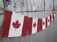 Each flag is hand painted, made to look old, worn and faded. Great for your Canadian roots! Banner measures about 6 feet long. No fray, ever! Double jute twine ties on each end for easy hanging! FunkyshiQue made on Etsy. Canada Day 150, Canada Day Party, Happy Canada Day, Canada Day Crafts, Shabby Chic Colors, Crafts For Seniors, Jute Twine, Sewing Crafts, Burlap
