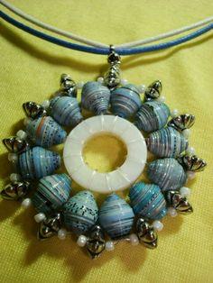 Paper bead pendant, diy, recycle, inspiration, kralen, papier, inspiratie, ketting, hanger