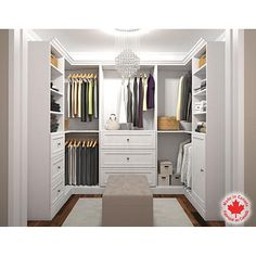 Boutique Style White U Shape Closet. Add A Center Island For 400.00