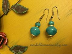 Turquoise earrings with a Beautiful Mediterranean by mytimevintage