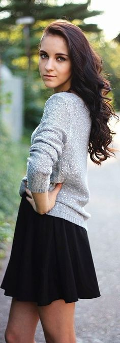 Grey Sweater & Skater Skirt. an idea of turning a summer outfit into a fall one