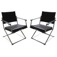 Pair of Mark Singer Campaign Style Chairs for Euroka 1