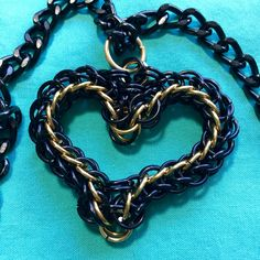 Chainmail Heart in black&gold with curb chain on AllenCreations website at the Square Market.