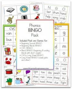 Phonics Bingo Pack - This Reading Mama Reading Help, Reading Skills, Cvce Words, Bob Books, Phonics Reading, Short Vowels, Word Games, Bingo Games, Phonics Activities