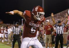 Oklahoma's Baker Mayfield (6) celebrates after a touchdown pass during a college football game between the University of Oklahoma Sooners (OU) and the Akron Zips at Gaylord Family-Oklahoma Memorial Stadium in Norman, Okla., Saturday, September 5, 2015. Photo by Bryan Terry, The Oklahoman