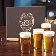 the wooden gift box and all four pint glasses are personalized with the name, rank, and badge number or year of your choice, making it a truly unique gift for law enforcement professionals and their families.