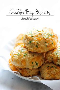 Red Lobster Cheddar Biscuits  Recipe here: http://damndelicious.net/2014/02/03/red-lobster-cheddar-bay-biscuits/