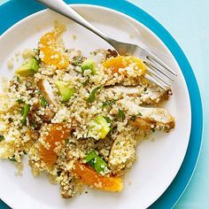 Quinoa Salad with Chicken, Avocado, and Oranges  Note to me - make without chili powder & garlic