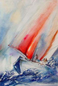Nautical Painting, Sailboat Painting, Nautical Art, Ship Paintings, Seascape Paintings, Colorful Paintings, Abstract Face Art, Abstract Watercolor, Watercolour Painting