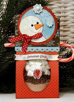 note from Krisann (christmasorganizi.): cute way to give snowman soup! (CCV) Bo Bunny: Gift giving at its best! Christmas Craft Fair, Christmas Paper Crafts, Christmas Projects, Holiday Crafts, Christmas Holidays, Christmas Ornaments, Christmas Ideas, Holiday Decor, Snowman Soup