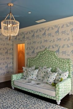 The ceiling is painted in Cook's Blue and the trim is Wimborne White, both from Farrow and Ball