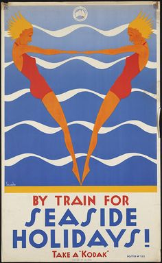 "Can you imagine resisting this poster when you're buying a train ticket? Via Chance Co. poster By train for seaside holidays! Take a ""Kodak"" Vintage Advertising Posters, Art Deco Posters, Vintage Travel Posters, Vintage Advertisements, Vintage Ads, Poster Prints, Art Print, Vintage Images, Vintage Designs"