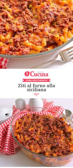 Ziti al forno alla siciliana Comida Siciliana, Sicilian Recipes, No Calorie Foods, Stuffed Hot Peppers, International Recipes, I Love Food, Pasta Dishes, Ziti, Pasta Recipes