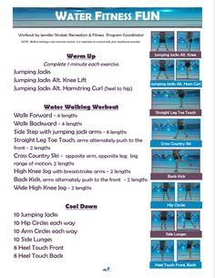 Eosc group exercise schedule jpeg aqua fitness workout plan men s the workout schedule broken down and explained Water Aerobics Routine, Water Aerobics Workout, Water Aerobic Exercises, Swimming Pool Exercises, Pool Workout, Walking Exercise, Fun Workouts, Water Workouts, Workout Routines