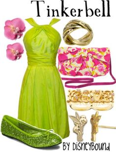 disney outfits Tinkerbell by DisneyBound Disney Character Outfits, Disney Themed Outfits, Character Inspired Outfits, Disney Dresses, Disney Clothes, Tinkerbell Outfit, Tinkerbell Disney, Cute Disney, Disney Style