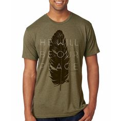 Handcrafted Men's Christian Triblend Tee | Military Green, feather, God is our Peace. FREE SHIP USA. MercyRoadApparel.com