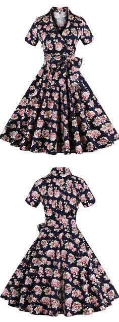 vintage dress floral vintage dress short 50s' dress