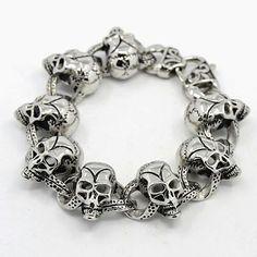 Skull Bracelet Silver Stainlees Steel