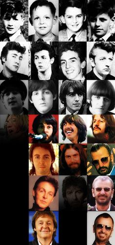 The Beatles - collage - through the years