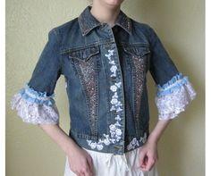 Denim Jacket upcycled with Lace trim and beading,