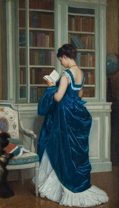 Dans la Bibliotheque (1872). Auguste Toulmouche (French, 1829-1890). Oil on canvas.     Toulmouche specialized in paintings depicting beautiful women within interior scenes (Directoire/Costume paintings). He first exhibited in the Salon of 1848.    At the height of his career, Costume painting came into the forefront. Patrons reveled in depictions of sentimental, romantic daily life. Success depended on the expressiveness of the characters, a quality directly derived from history painting.