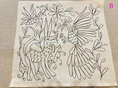 Diy Otomi Embroidery, Diy Embroidery Patterns, Mexican Embroidery, Machine Embroidery Projects, Modern Embroidery, Embroidery Kits, Beginner Embroidery, Mythical Birds, Mexican Textiles