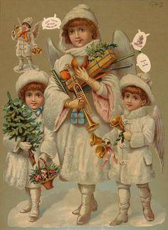 Large Vintage Victorian Christmas Die Cut w/ 3 Angels w/ Bells,Tree & Gifts * Vintage Christmas Images, Victorian Christmas, Christmas Pictures, Vintage Images, Christmas Angels, Christmas Art, Xmas, Santas Vintage, Victorian Angels