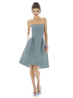 I love the shape of this dress!  slate blue bridesmaid dress