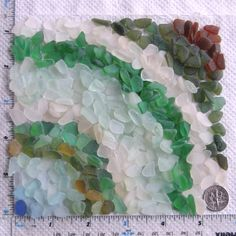 320 Sea Glass Shards Imperfections Art Mosaic by TidelineDesigns