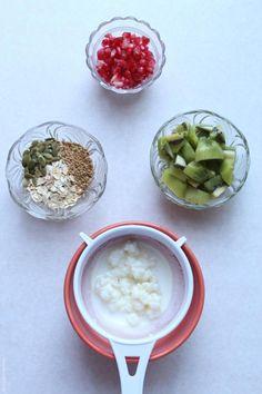 kefir, pomegranate and kiwi trifle