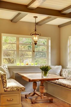 Cottage Kitchen with Andersen Windows & Doors Specified Equal Light, Glassybaby votive, Exposed beam, Hundi Lantern