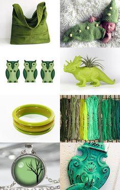 Great Greens Etsy Treasury features KnittingGuru Baby Pea Pod Cocoon Pattern.