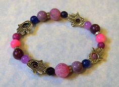Shades of Pink and Purple Gemstone and Hamsa Bead Frame Stretch Bracelet