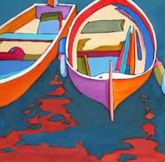 Daily Painting, Moored, abstracted boat painting, painting by artist Carolee Clark Boat Art, Daily Painters, Boat Painting, Wildlife Paintings, Black Aesthetic Wallpaper, Colorful Paintings, Art For Sale, Collage Art, Watercolor Art