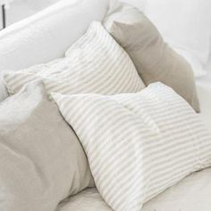 Natural Stripe Linen Pillowcases | Oeko-Tex® certified Striped Linen, Home Textile, Linen Bedding, Bed Pillows, Pillow Cases, Pure Products, Natural, Linen Sheets, Bedroom Linens