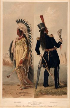 George Catlin, Assiniboin man before and after civilization, 1844.