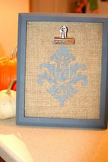 diy burlap board - use for holding recipes while cooking? attach a book lamp?