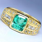 Estate 1.75ctw Bezel Set Emerald & Diamond Right Hand Wide Ring in 14K Gold