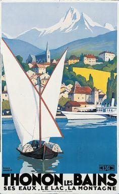 Roger Broders (1883-1953): Thonon les Bains 1929