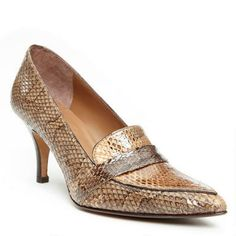 Donald J. Pliner - TACEY •Snake print patent leather upper •Modern pointed toe •3 inch stacked heel •Leather sole •Made in Spain
